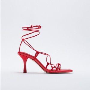 Zara Red Ankle Strap Sandals